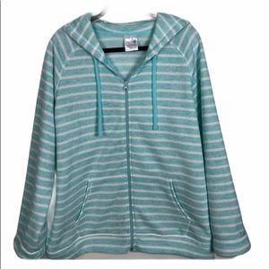 Denver Hayes Aqua/White Striped Hooded Jacket 2X